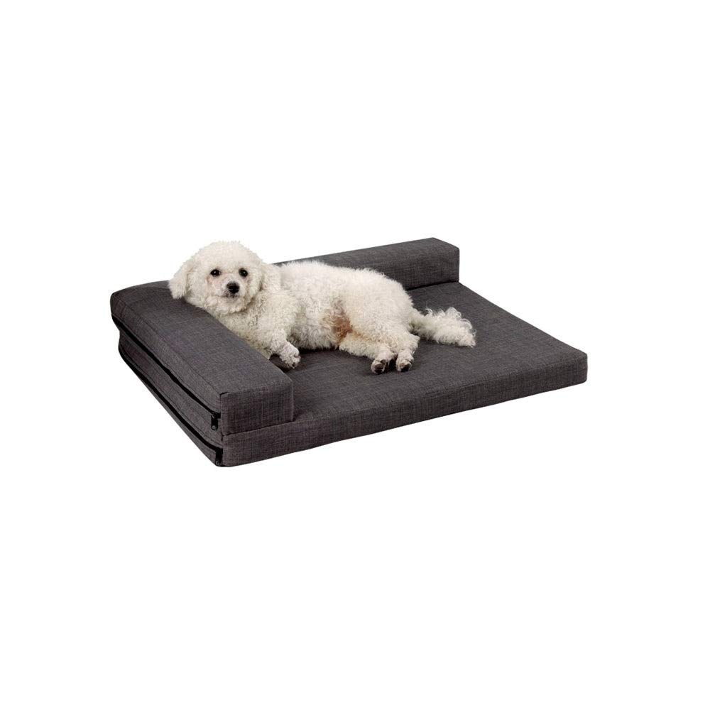 Scudo grigio scuro S Alapet Multi -Color Optional Remable Dog Bed, Four Seasons Universal Cotton and Linen Texture, Dirty and Bit -Resistant Pet Sofa Mattress, Simple Design cromo Stit ng, High Elastic Sponge Dura