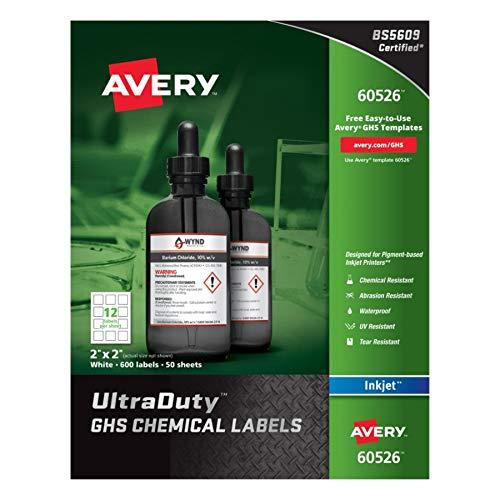Avery UltraDuty GHS Chemical Labels for Pigment Inket Printers, Waterproof, UV Resistant, 2x2, 600Pk (60526)