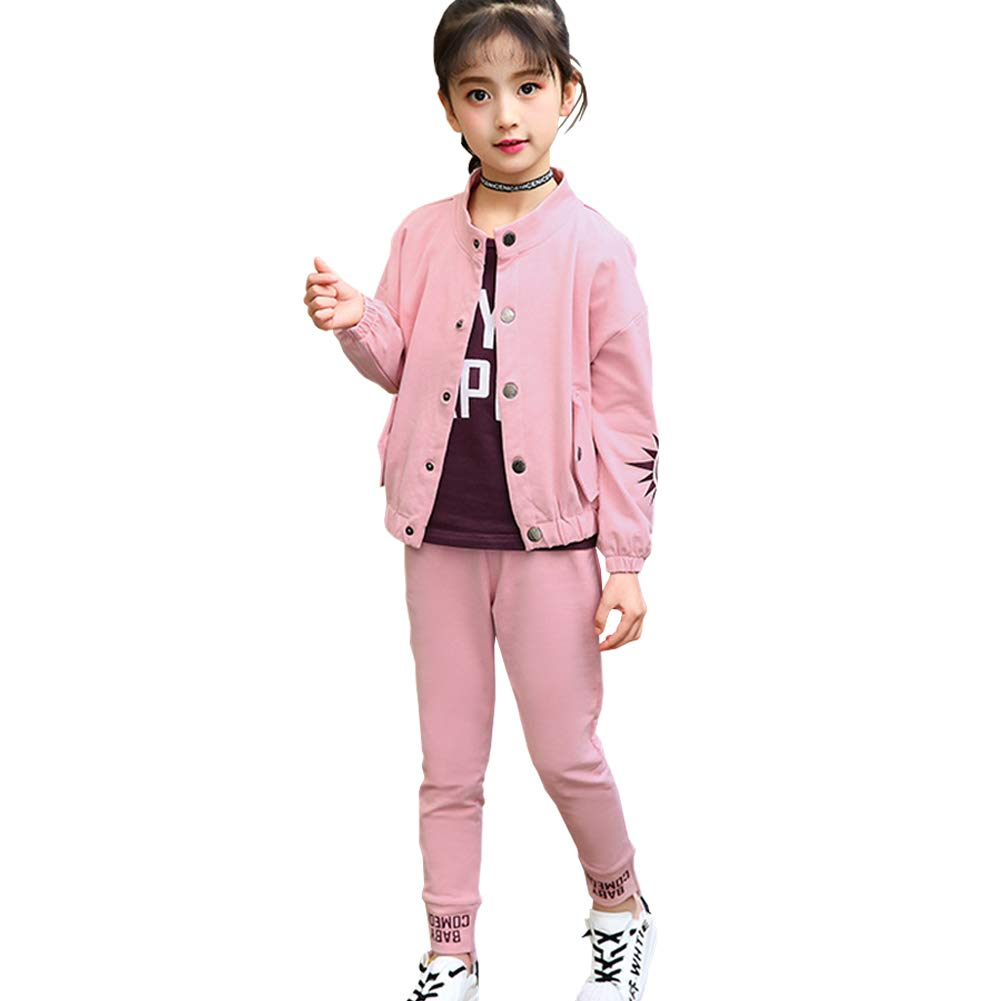 1fa27eda2 Amazon.com: M&A 3Pcs Kids Jacket Top and Pant Set for Girls Spring Autumn  Outfits: Clothing