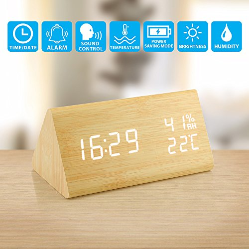 Oct17 Wooden Alarm Clock, Wood LED Digital Desk Clock, UPGRADED With Time Temperature, Adjustable Brightness, 3 Set of Alarm and Voice Control, Humidity Displaying - Bamboo Set Wood Clock