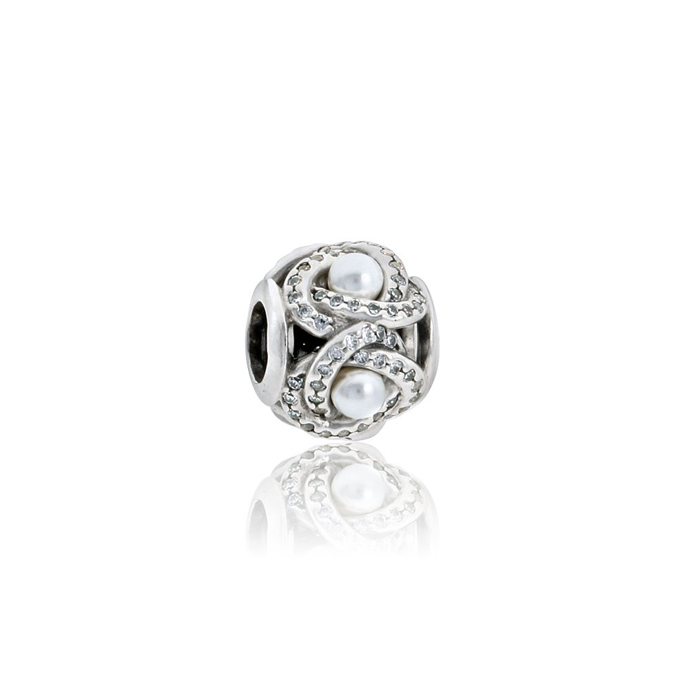 Pandora Luminous Love Knot, White Crystal Pearl & Clear CZ Charm 792105WCP