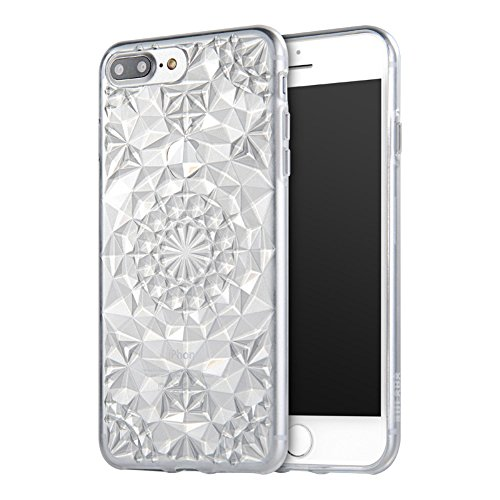 SULADA Luxury Crystal Sparkle 3D Diamond-shaped Design Flexible TPU Protective Tasche Hüllen Schutzhülle - Case für iPhone 7 Plus - Weiß