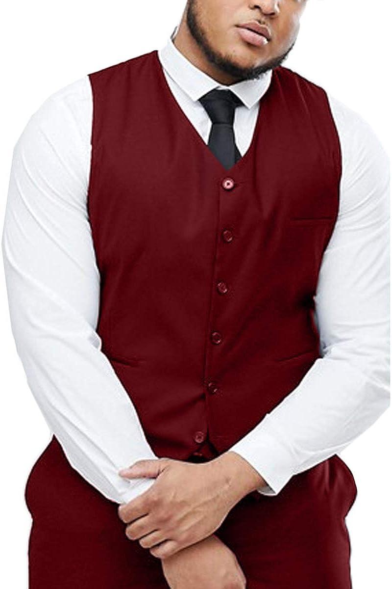 GATMSTZ Mens Classci Fit Suit Vest for Big Tall Formal V-Nect Waistcoat Plus Size MN012-VS Burgundy,52R
