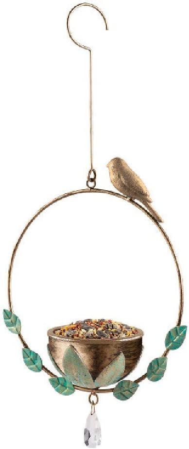 Grasslands Road Hanging Bird Feeder - Garden Yard Décor, Drainage Holes in Bottom, Metal, Resin and Acrylic, 18 1/4 by 8 1/4 by 4 Inches