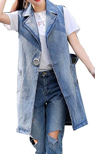 小数おなかがすいたひばりQiangjinjiu 女性のプラスサイズのコートそでなしのウォッシュデニムロングベスト