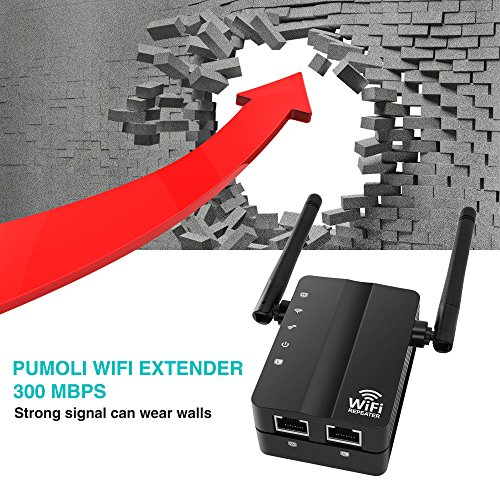 WiFi Extender, Pumoli WiFi-Repeater 300Mbps WiFi Range