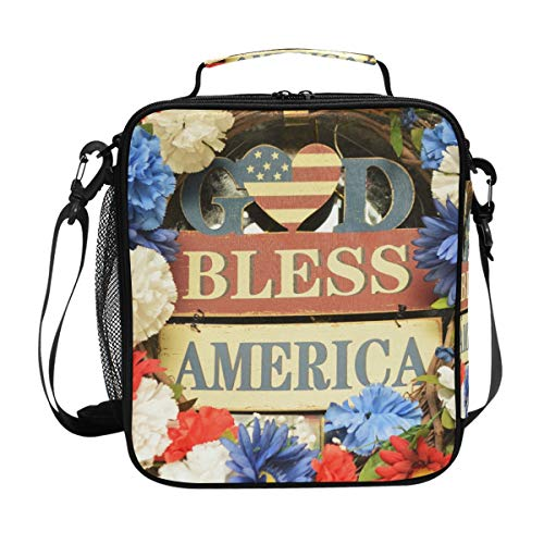 Lunch Bag Insulated Boxes God Bless America Flower Frame Cooler Lunch Handbags Organizer Containers Meal Prep with Shoulder Strap for Woman Man Boy Girl