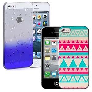 Nuevos 2 piezas funda transparentes gotas de lluvia y Aztec ultra delgado Cover Por iPhone 4s - Azul / Sunset Aztec & Screen Protector & Stylus