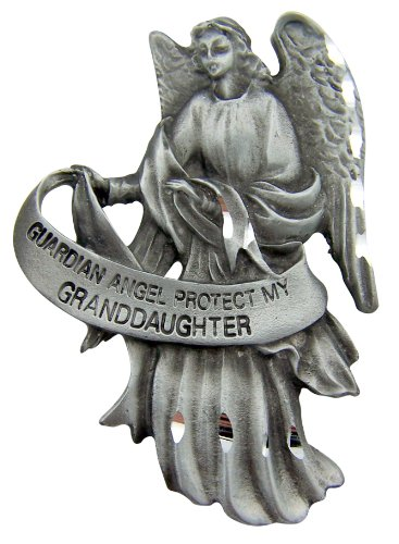 WJ Hirten Pewter Guardian Angel Visor Clip, 2 1/2 Inch - Protect My Granddaughter ()