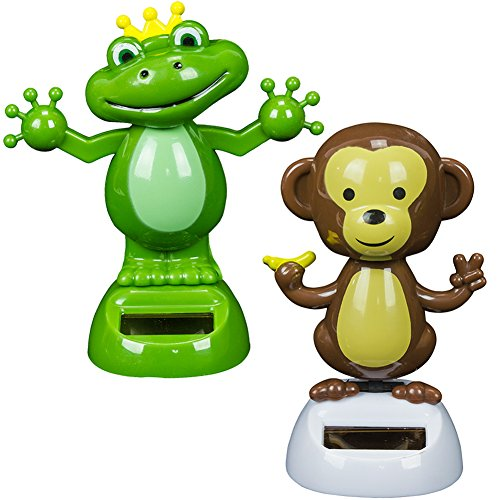 Solar Powered Dancing Monkey & Frog (2 (Solar Unit 2 Frogs)