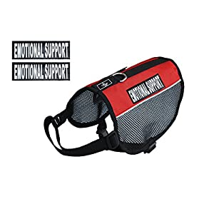 "EMOTIONAL SUPPORT Service Dog mesh vest Harness Cool Comfort. Purchase comes with 2 reflective EMOTIONAL SUPPORT velcro pathces. PLEASE MEASURE your dog before ordering (Girth 11-14"", Red)"