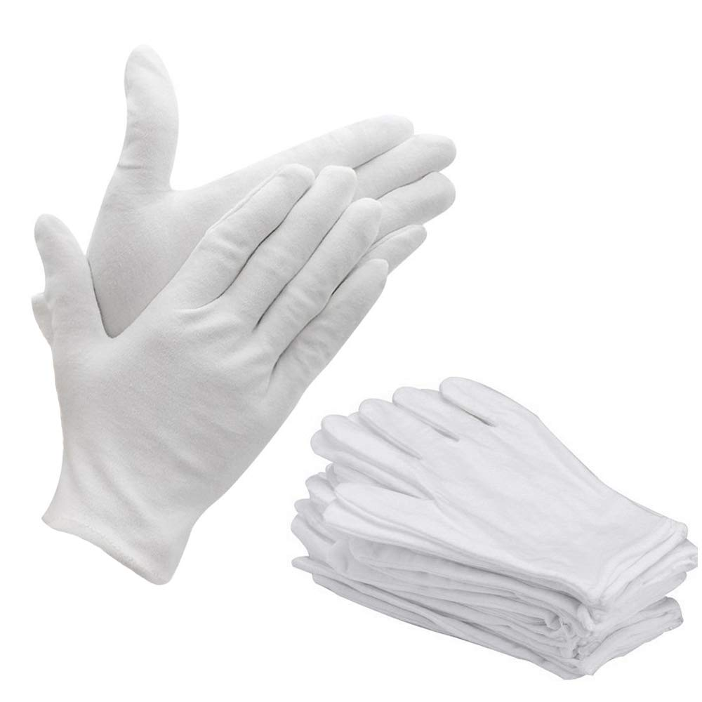 Bestgle White Gloves, 15 Pairs Soft Cotton Stretchable Work Glove for Coin Jewelry Silver Inspection, Doorman, Fire or Police Dress Glove Liner Uniform (Large)