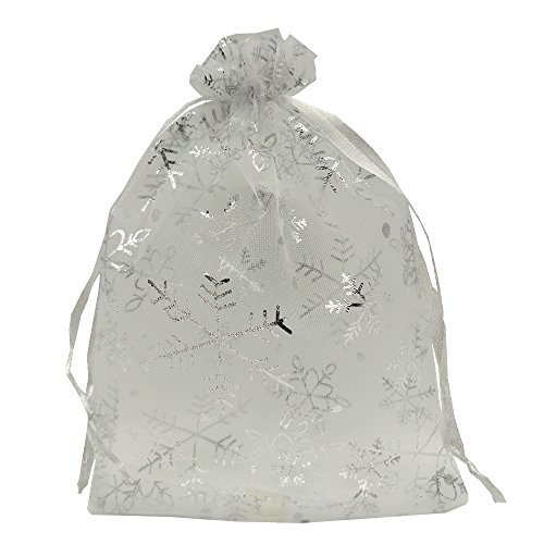 Ankirol 100pcs Christmas Organza Favor Bags Snowflake With Silver Print White Jewelry Candy Gift Bags Samples Display Drawstring Pouches (3x4)