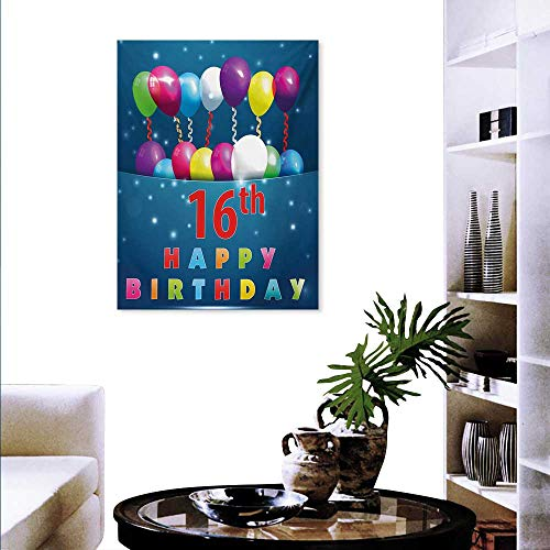 Mannwarehouse 16th Birthday Art Stickers Sweet Sixteen Theme Teenage Design Party Balloons Kitsch Celebration Image Ready to Hang Home Decorations Wall Decor 16