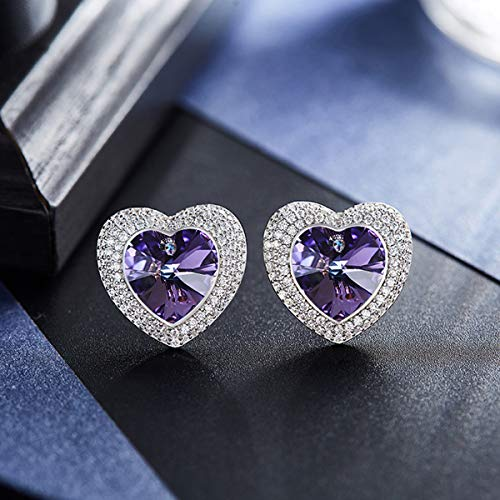 SNOWH Sterling Silver Earrings Studs CZ Stud Earring Synthetic Swarovski Crystals Heart Ladies Fashion Rhinestone Jewelry Christmas Gifts for Women Purple
