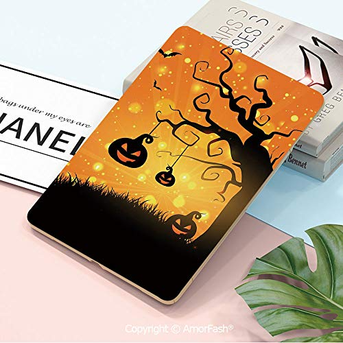 Decor Printed Galaxy Tab A 10.5 Case,Ultra Slim Trifold Stand PU Case Smart Cover for Samsung SM-T590 / T595 / T597,Halloween,Magical Fantastic Evil Night Icons Swirled Branches Haunted Forest Hill De -