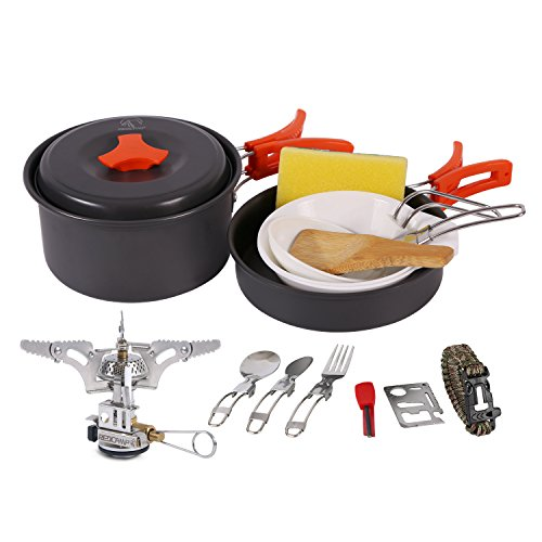 REDCAMP Outdoor Camping Cookware Set with Stove, Lightweight Compact & Portable, Non-Stick Anodized Aluminum Camping Pots and Pans Set
