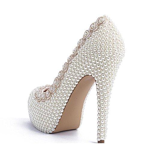 heels thin mano party nightclub de novia de boda la zapatos bombas de encaje de la cuero de a mujeres noche etapa hecho de flores cristal las sandalias white de pearl blanco high FXqwpP0