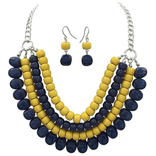 Beaded Yellow Jewelry Set - 4 Row Layered Bib Bubble Statement Silver Tone Necklace & Earrings Set (Navy Blue & Dark Yellow)