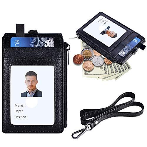 (Cehomi Black Badge Holder with Zipper, PU Leather ID Badge Holder with 5 Card Slots, 1 Side Zipper Pocket & 1 Detachable Neck Lanyard/Strap - Black (Vertical) )