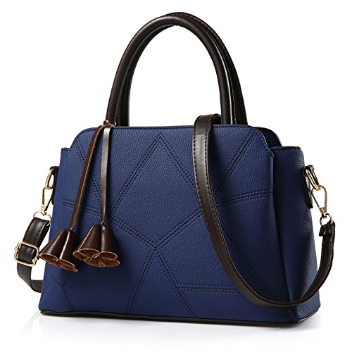 Bolsas Navy Diagonal Blue Mujeres Coreanas All Match Meoaeo De Cruz del Color Rojo Hombro Brillante Tp1w4Rx