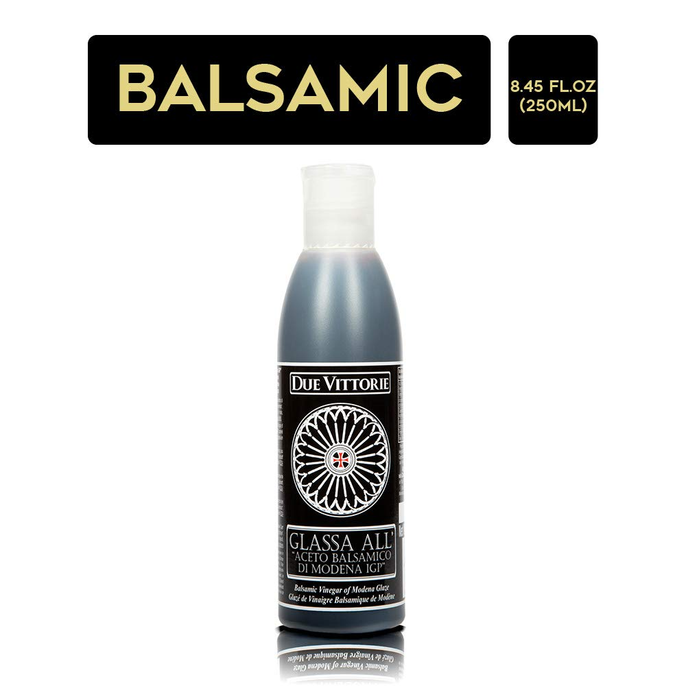 Due Vittorie Italian Balsamic Glaze Crema All Aceto Balsamico Di Modena I.G.P. Gluten Free Balsamic reduction 8.45 oz bottle by Due Vittorie