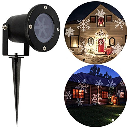 Snow Lights Christmas (LED Projector Light Snowflake Landscape Lamp Christmas Window Decoration Projection Nightlight Automatic Rotating Spotlight Waterproof Sparkling Light for Indoor Outdoor Party(White Snowflake))