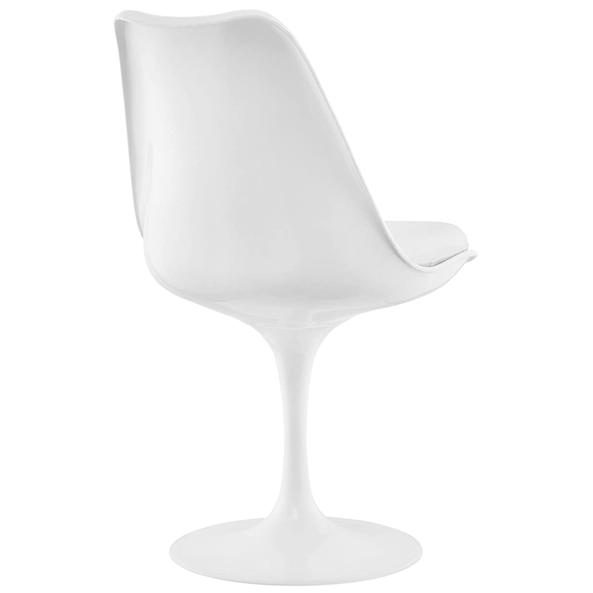 Modway Lippa Modern Dining Side Chair With Faux Leather Cushion in White