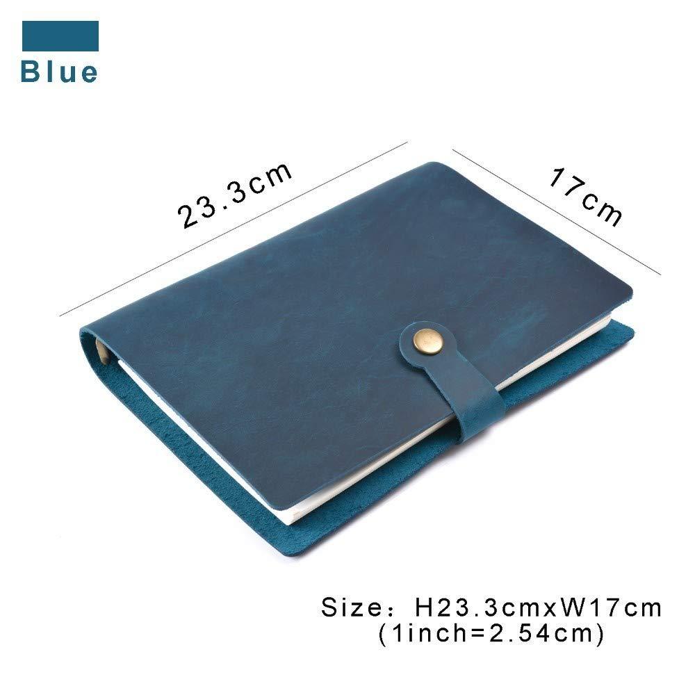 bleu A5 VQEWZ Cahier Top Mode Véritable Anneaux En Cuir Notebook A5 Planificateur Avec Reliure En Laiton Spirale Sketchbook Snap Bouton Journal Personnel Journal Papeterie, Vert, A5