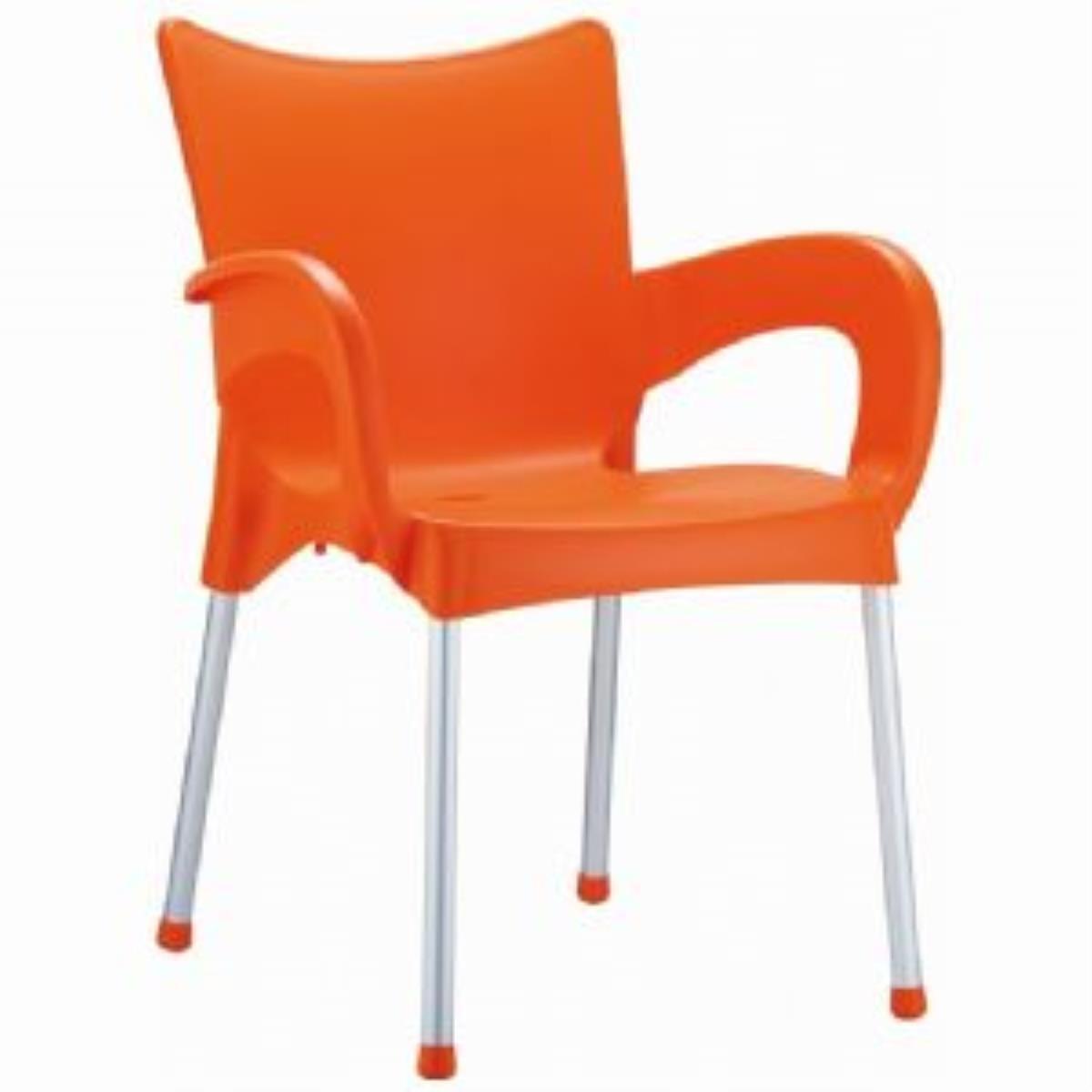 Romeo Stacking Dining Arm Chair [Set of 4] Finish: Orange