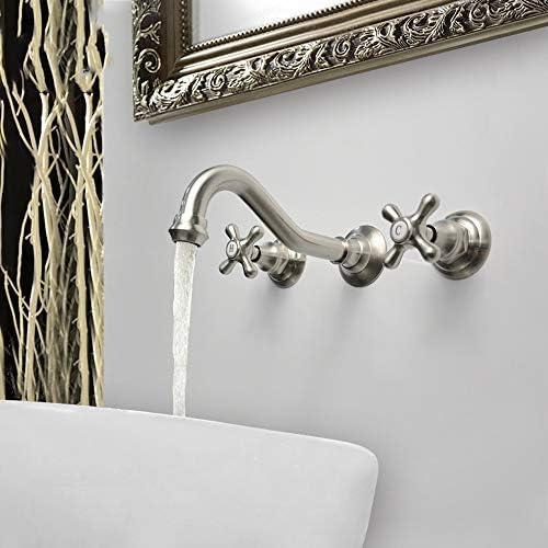 立体水栓 蛇口 美しい実用的なヨーロッパの銅ブラシORB三点セットダークウォールお湯と水流域の蛇口 万能水栓 台付 (Color : Silver)