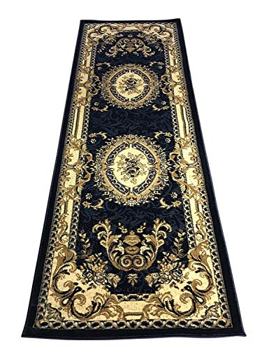Traditional Runner Oriental Aubusson Floral 330,000 Point Area Rug Persian Dark Blue Design 602 (31 Inch X 7 Feet 2 ()
