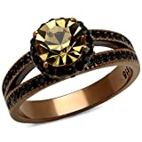 Women's Brown Plated Stainless Steel 3.35Ct Round Smoked Crystal Engagement Ring Size 9