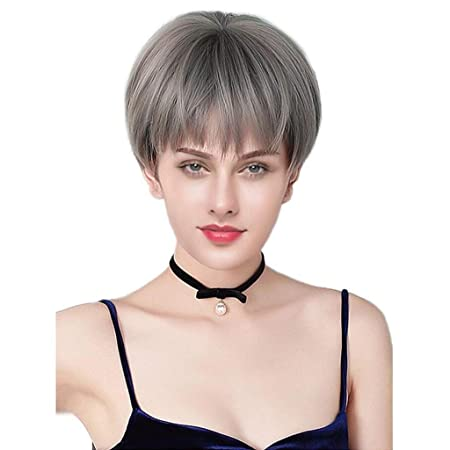 ASDFNF Peluca For Mujer, Damas Naturales Ombre Gris Pelo Corto ...