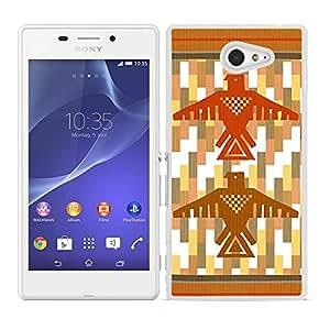 Funda carcasa para Sony Xperia M2 diseño estampado indio totem borde blanco