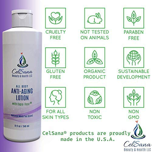 CelSana All Body Anti-Aging Lotion - (Natural White Tea) Organic Skincare Moisturizer for Men and Women Paraben Free, Chemical Free,Firming Beauty Lotion with Cupió-Rase Luxury Head-to-Toe Cream to Improve Appearance of Cellulite