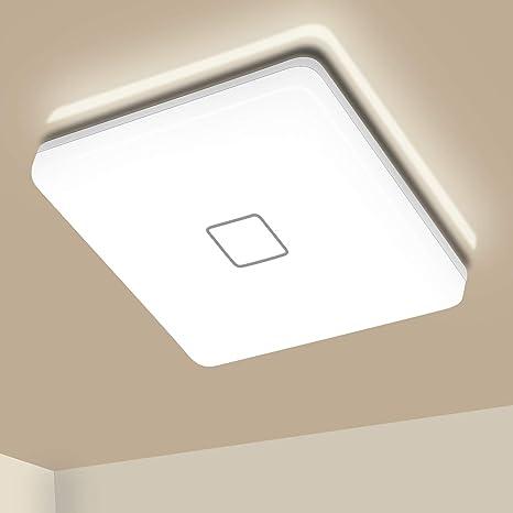 Led Ceiling Lights Airand 24w Ceiling Light Fixture Flush Mount 4000k 2050lm 12 6inch Square Ceiling Light For Bathroom Bedroom Kitchen Hallway