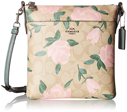 COACH Women's Camo Rose Messenger Crossbody Silver/Light Khaki/Blush One Size (Coach Nomad Crossbody In Burnished Glovetanned Leather)