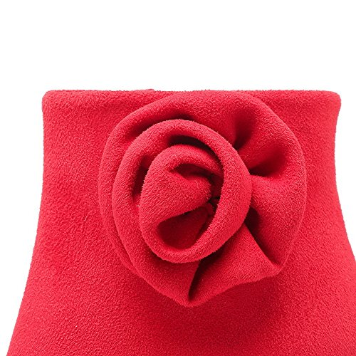 BalaMasa Ladies Stiletto Embroidered Platform Imitated Leather Boots Red MRVwe