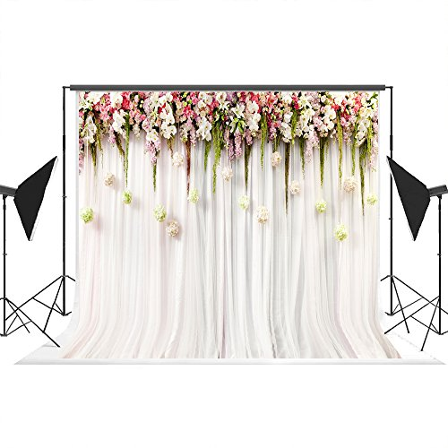 7x5ft White Pink Lace Curtain Wedding Ceremony Cotton Polyester Printed Colorful Flowers Photography Backdrops Seamless and Wrinkle Free Photo Studio Background -