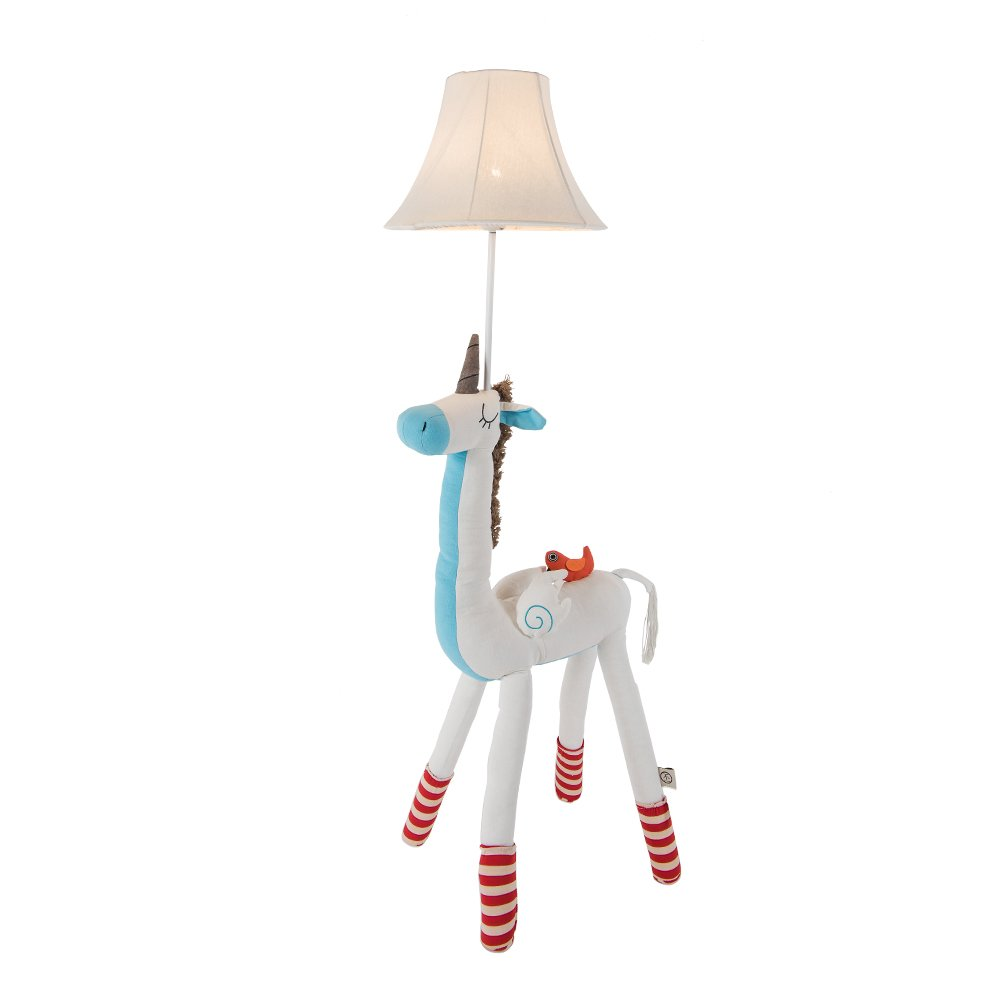 Unicorn Floor Lamp Nursery Lamp for Girls,Home Decoration Floor Table Lamp Light with Fabric Shade White