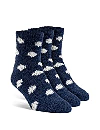 YolBer Women's Dotted Fluffy Quarter Fuzzy Socks - 3 Pairs, Medium, Nude Beige
