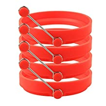 WQYK 4 Pack Nonstick Silicone Egg Ring Pancake Mold, Round Egg Rings Mold, red
