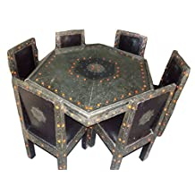 6 Chair Moroccan Octagonal Table Silver Arabesque Engraved Metal Dining Set