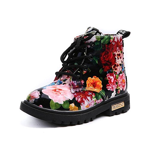 morecome Girls Fashion Floral Martin Boots