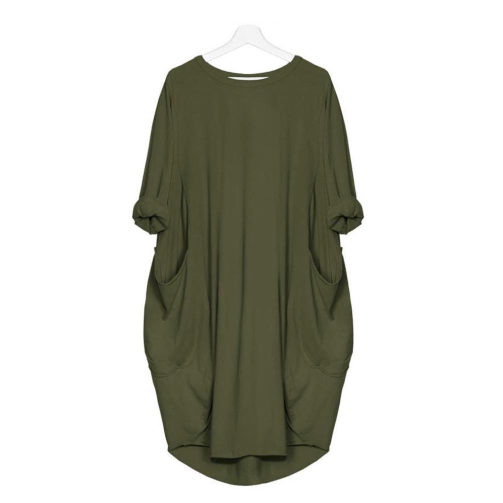1241182724 Overdose Vestido Suelto De Bolsillo para Mujer Breve Fashion Ladies Cuello  Redondo Playa Tops De Vestir