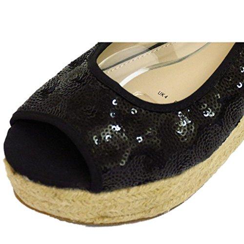 HeelzSoHigh Damen Schwarz Paillette Hessisch Keilabsatz Plateau Peep-Toe Sandalen Schuhe Größen 3-8