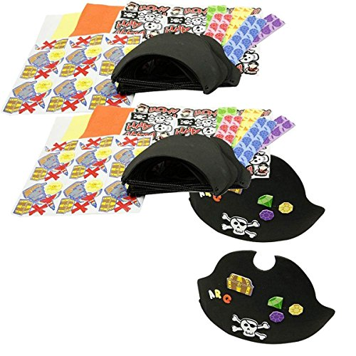 Four Star Pirate Hat - Fun Express 24 ~ Foam Pirate Hats with Stickers ~ Includes Vinyl Expandable Coil Bands and 426 Self-Adhesive Foam Shapes ~ Approx. 9 1/2