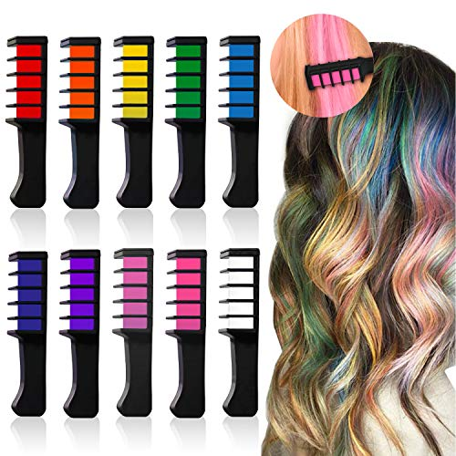 HAIR CHALKS BIRTHDAY GIRLS GIFT - 10 Colorful Hair Chalk Comb Set Washable Color for Kids Hair Dyeing Party, Cosplay