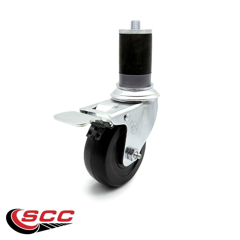Service Caster - Stainless Steel 3.5'' x 1.25'' Hard Rubber Wheel Swivel Caster w/1-5/8'' Expanding Stem w/Total Lock Brake
